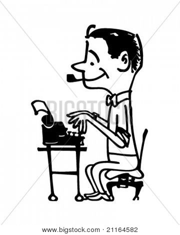 Man Typing - Retro Clipart Illustration