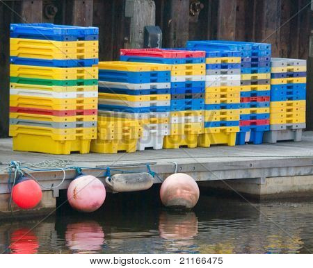 Plastic Crates At The Quay Side