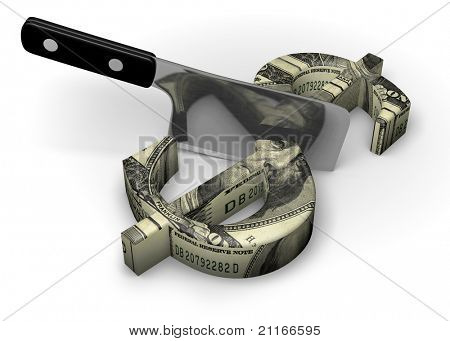 Meat cleaver cutting a dollar sign in half on a white background