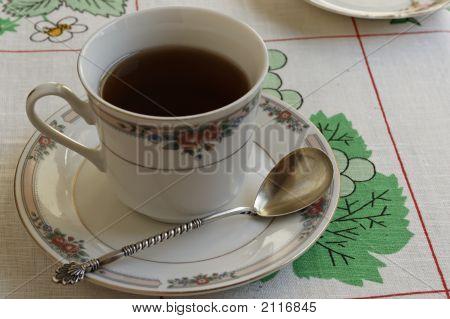 Antique Tea Spoon And Tea Cup