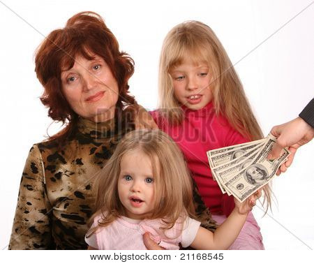 Grandmother with granddaughters, takes money.