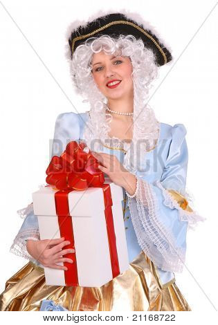 Woman in ancient dress of marquise with gift box.