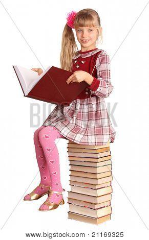 Cute girl read big book.