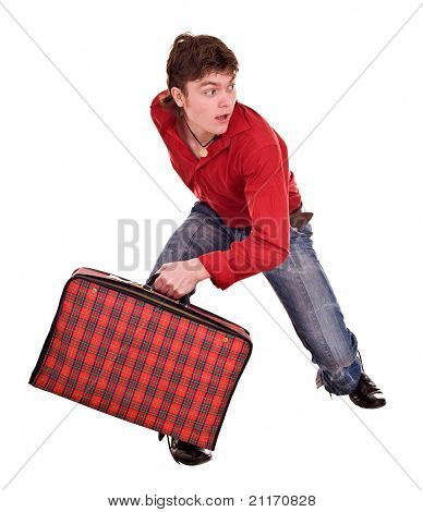 Cheerful  happy man with suitcase . Isolated.
