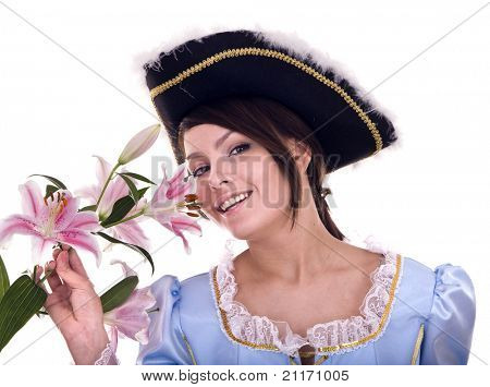 Woman in blue dress and flower. Isolated.