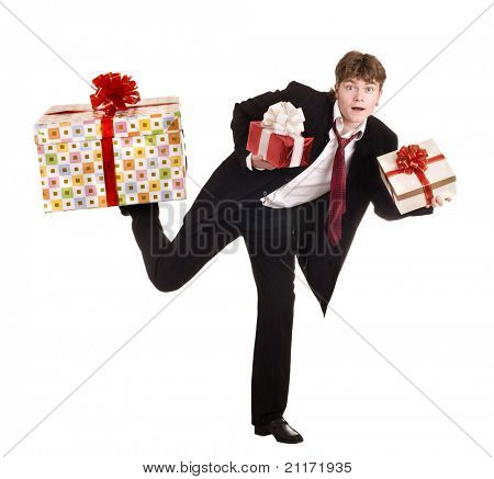 Man with falling gift box run. Isolated.