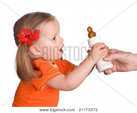 Child take  small bottle with milk and pacifier.Isolated.