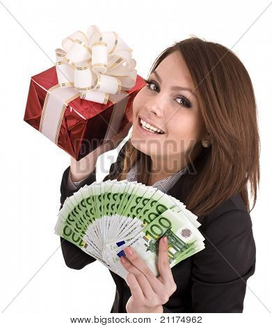 Girl in business suit  with money, red gift box. Isolated.