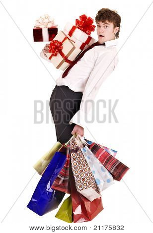 Man with falling group gift box and shopping bag.  Isolated