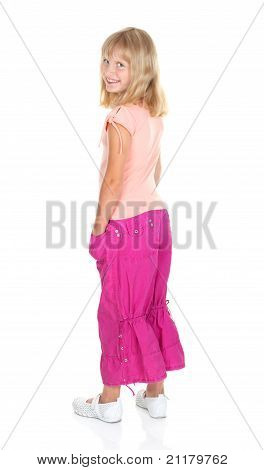 Cute Blonde Teen Girl In Casual Dress Posing Isolated On White