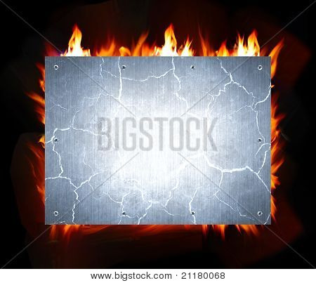 abstract crack metal and fire flame background