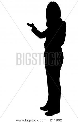 Business Woman Presening Silhouette