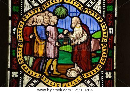 Moneylender Stained Glass Window
