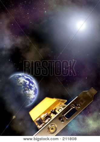 Information Technology Age Space Ship: Videocard Over The The Earth