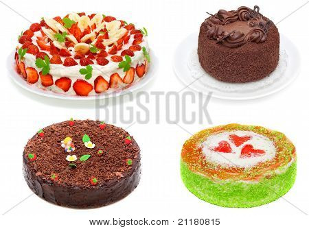 Collage Of Various Cakes Isolated On White.