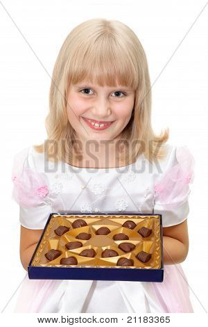 Cute Teen Girl With Chocolate Candies Box Isolated On White