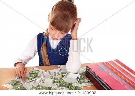 Upset  child with money euro. Isolated.