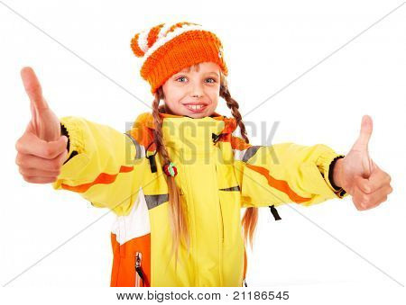 Girl in autumn orange  hat with thumb up.  Isolated.