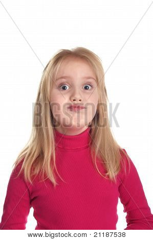 Nice Girl In A Pink Sweater Ridiculous Grimaces