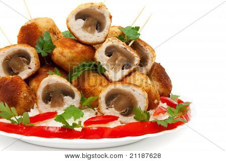Meat Balls Chicken Fillet Stuffed With Mushrooms