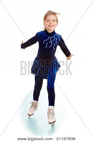 Girl in blue sport dress on skates.Isolated.