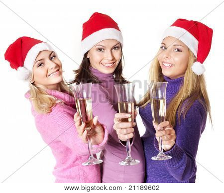 Group young people in santa hat drinking champagne.