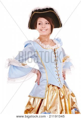 Young woman  in blue dress with gold and black hat.  Isolated.