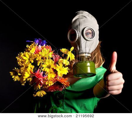Woman in gas mask.