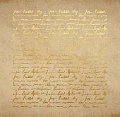 Old Paper With Golden Ink Handwriting Letter poster