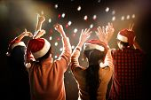 Christmas And New Year Party Celebration. People And Holiday Concept. Dancing And Celebrate Theme poster