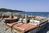 picture of sakhalin  - Sakhalin wooden fish boats at the sea - JPG