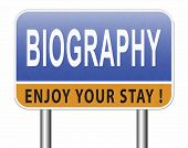 Bio button or biography leading to the story of your life about sign my life story resume 3D, illust poster