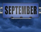september road sign for end of summer and begin fall or autumn month event agenda 3D, illustration  poster