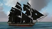 picture of pirate ship  - ship with black sales  - JPG