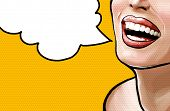 Pop art illustration beautiful smiling young fresh woman, face detail. Pop art woman with speech bub poster