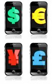 Pay by Mobile, Cell Smart Phone Dollar, Pound, Euro, Renminbi, Yen poster
