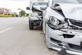 Modern Car Accident Involving Two Cars On The Road poster
