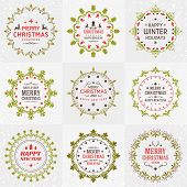 Set Of Merry Christmas And Happy New Year Decorative Badges For Greetings Cards Or Invitations. Vect poster