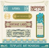 stock photo of art nouveau  - set of vector labels in art nouveau - JPG