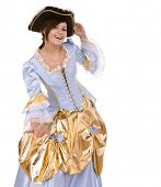 pic of marquise  - Girl in blue dress with gold and black hat - JPG