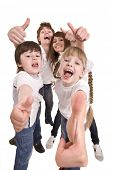 pic of happy kids  - Happy family throw out thumb - JPG