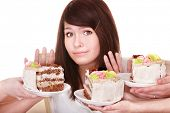 stock photo of pie-in-face  - Girl refuse to eat pie - JPG