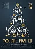 Merry Christmas Party Poster Banner Vector Golden Decoration Snowflake New Year Background poster