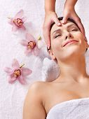 stock photo of beauty parlour  - Beautiful young woman having massage - JPG