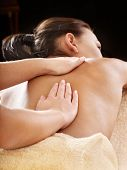 pic of massage therapy  - Beautiful young woman having massage - JPG