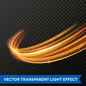Vector Light Effect Of Line Gold Swirl. Glowing Light Fire Flare Trace poster