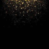 Gold Glitter Background With Sparkle Shine Confetti. poster