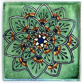 stock photo of ceramic tile  - Talavera style ceramic Mexican tile used in decor - JPG