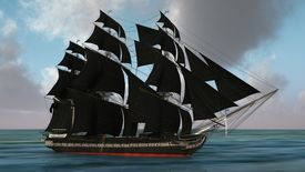 stock photo of pirate ship  - ship with black sales  - JPG