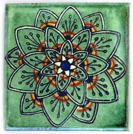 pic of ceramic tile  - Talavera style ceramic Mexican tile used in decor - JPG